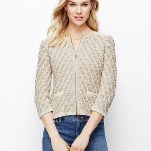 Ann Taylor Cream Sweater Jacket with Faux Leather